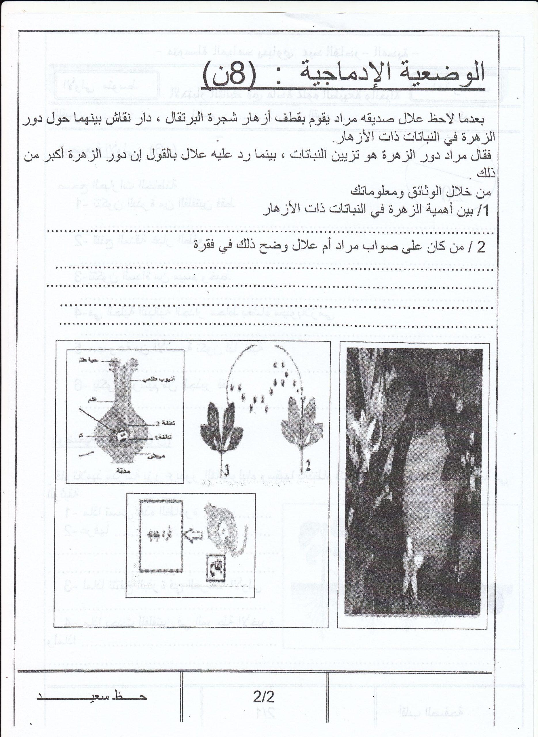 اختبار الفصل الثالث في العلوم الطبيعية للسنة الأولى متوسط - الموضوع 02