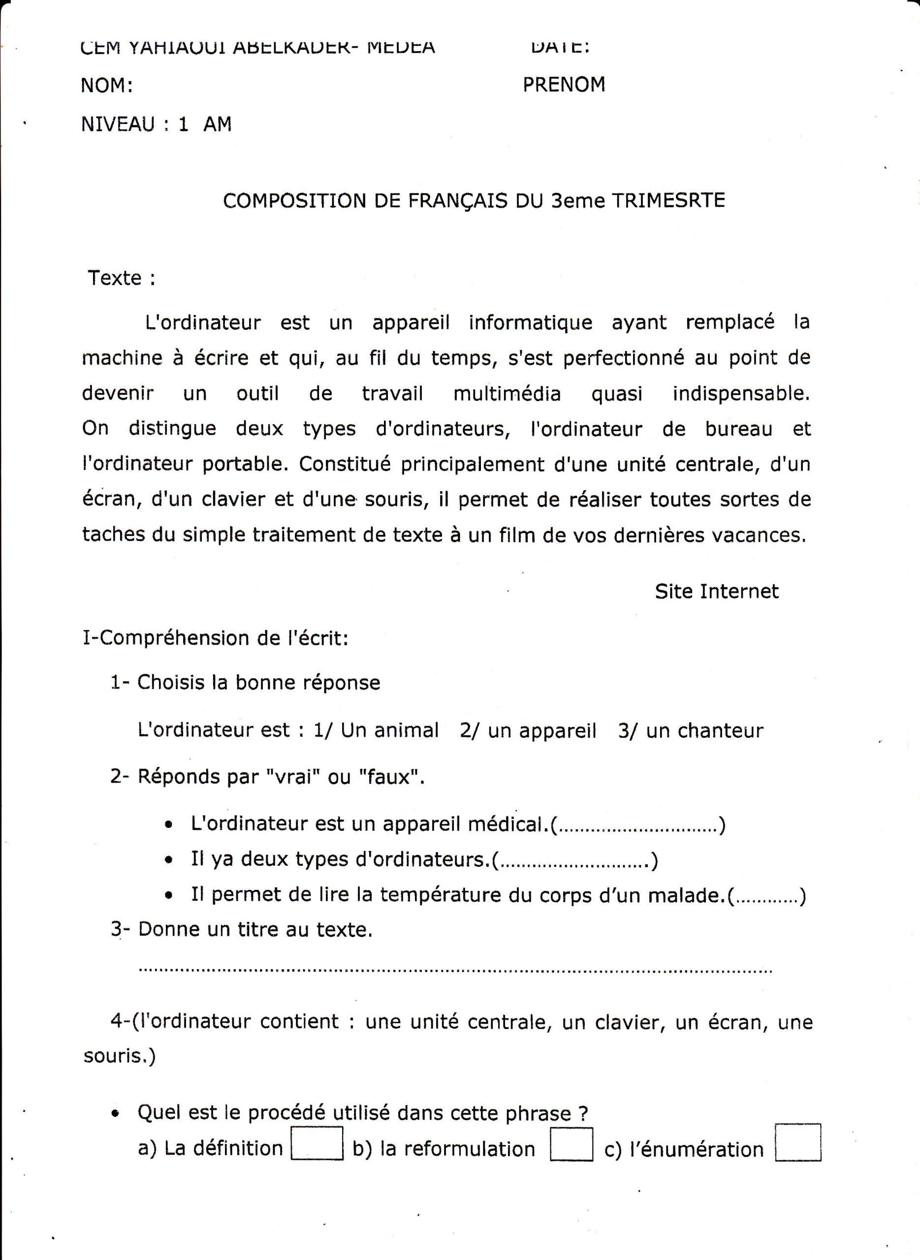 اختبار الفصل الثالث في اللغة الفرنسية للسنة الأولى متوسط - الموضوع 05