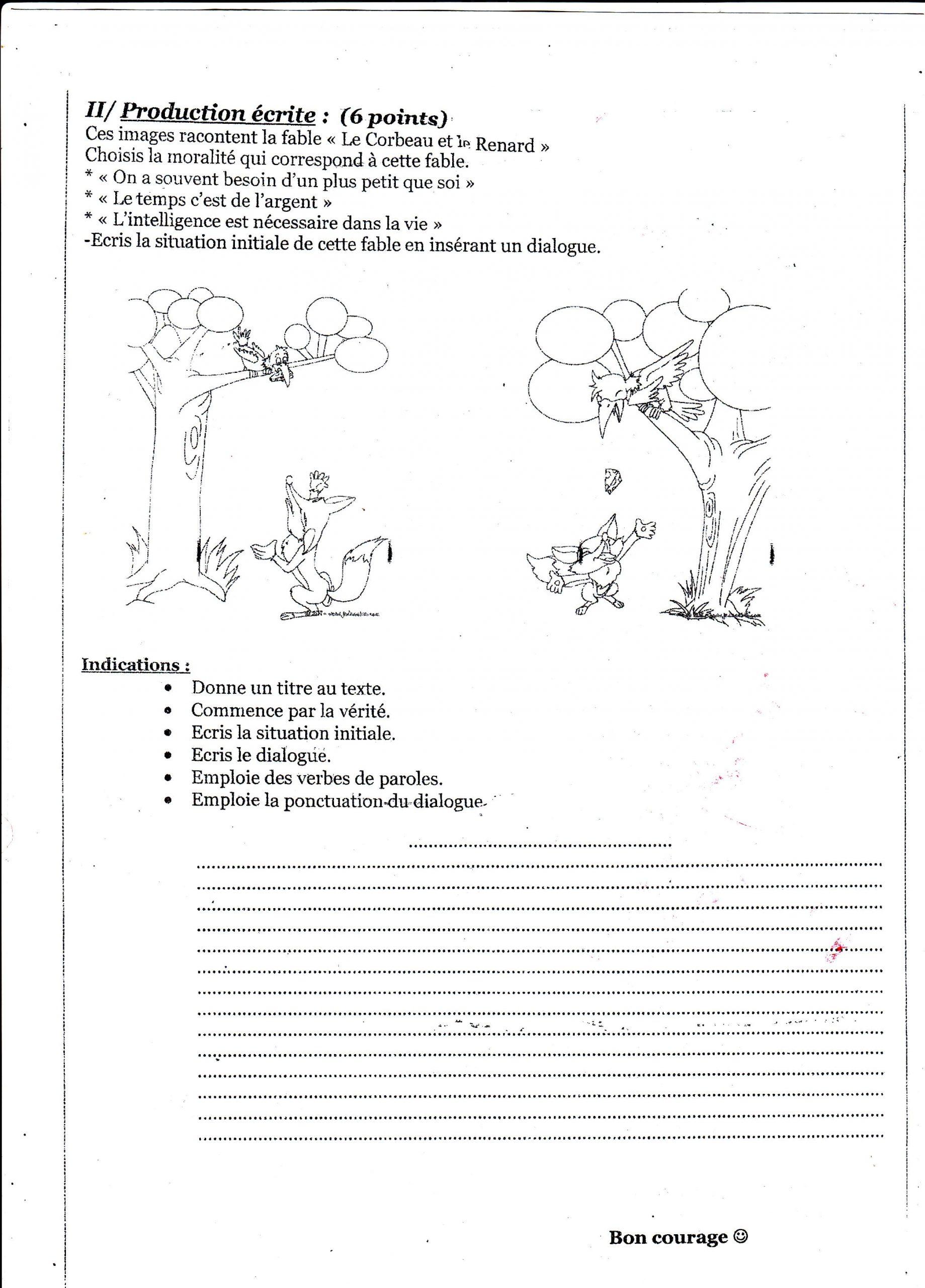 اختبار الفصل الثاني في اللغة الفرنسية للسنة الثانية متوسط - الموضوع 04