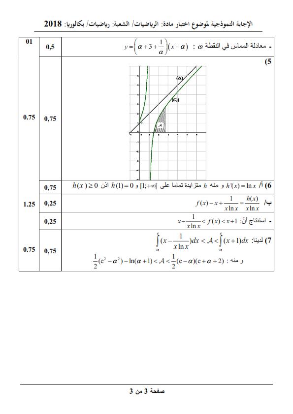 بكالوريا 2018 Bac / موضوع مادة الرياضيات مع الحلول النموذجية / شعبة الرياضيات