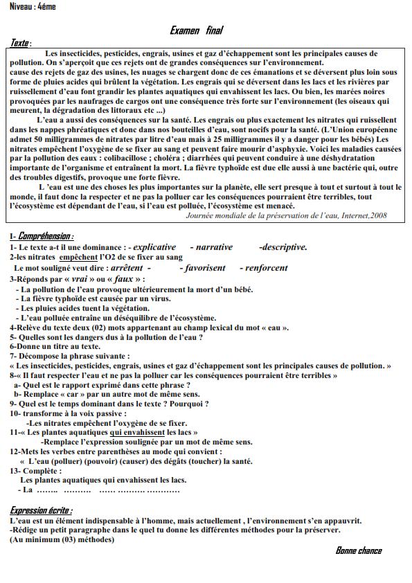 اختبار الفصل الثالث في اللغة الفرنسية السنة الرابعة متوسط | الموضوع 09