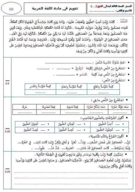 اختبار الفصل الثالث في اللغة العربية | السنة الثالثة ابتدائي | الموضوع 03