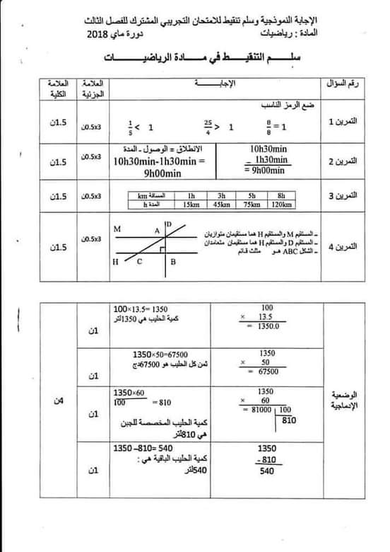 اختبار الفصل الثالث في الرياضيات مع الحل السنة الخامسة ابتدائي | الموضوع 01