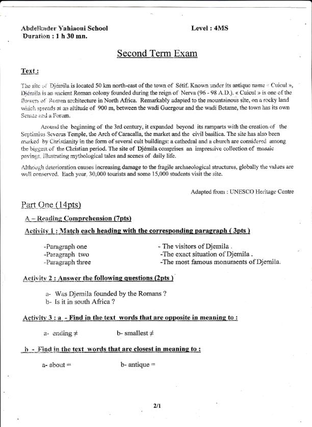 اختبار الفصل الثاني في اللغة الانجليزية السنة الرابعة متوسط | الموضوع 01
