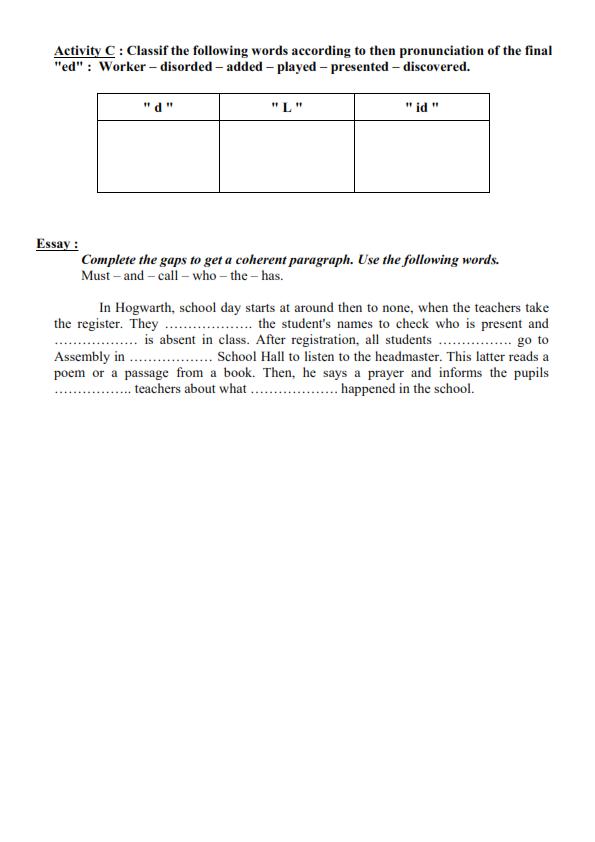 اختبار الفصل الثاني في اللغة الانجليزية السنة الرابعة متوسط   الموضوع 01