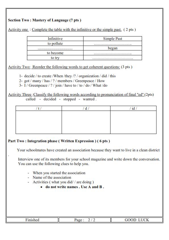 اختبار الفصل الثالث في اللغة الانجليزية السنة الرابعة متوسط   الموضوع 01