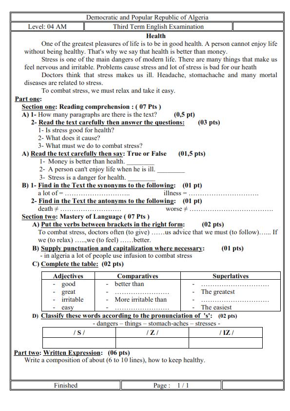 اختبار الفصل الثالث في اللغة الانجليزية السنة الرابعة متوسط | الموضوع 10