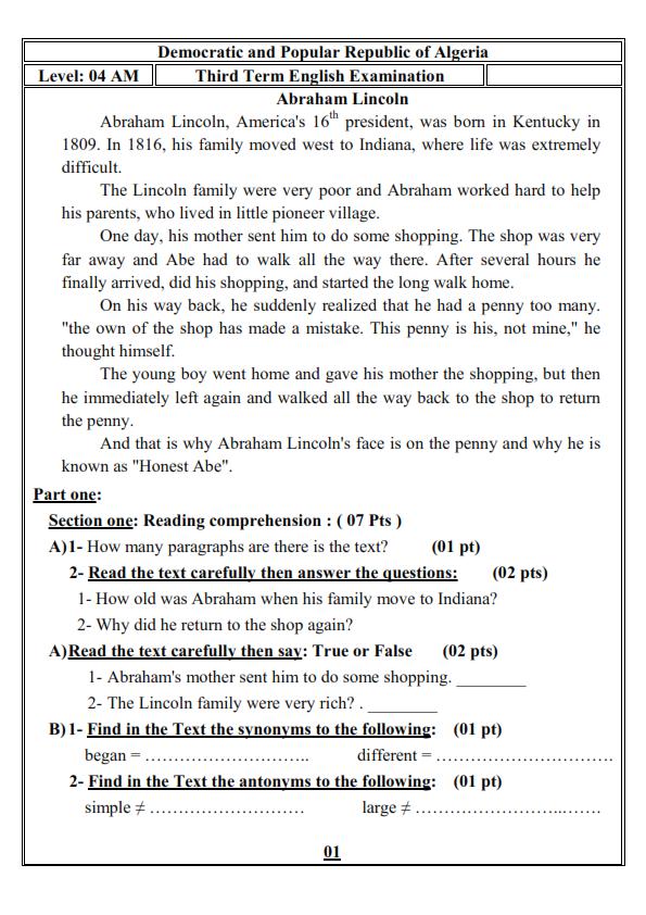 اختبار الفصل الثالث في اللغة الانجليزية السنة الرابعة متوسط   الموضوع 02