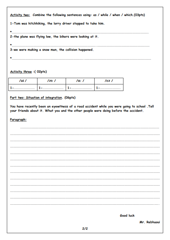 اختبار الفصل الثالث في اللغة الانجليزية السنة الرابعة متوسط | الموضوع 08
