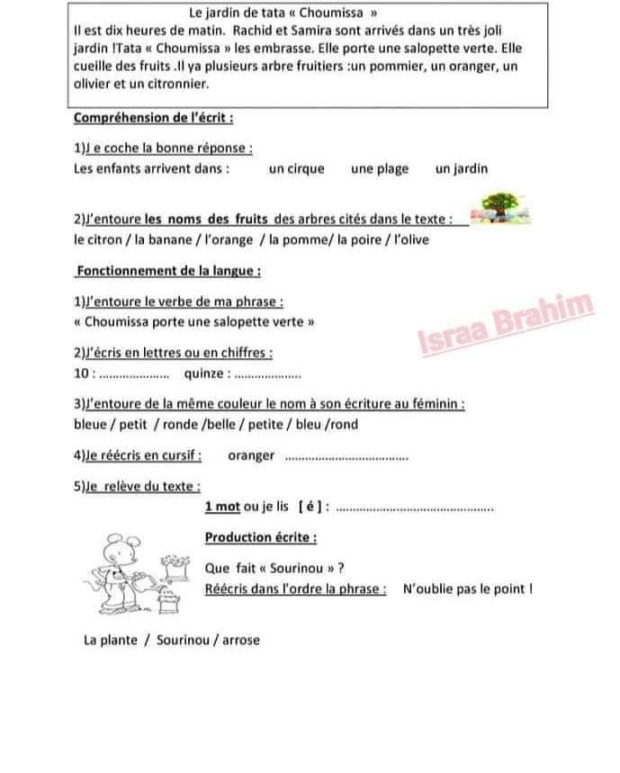 اختبار الفصل الثالث في اللغة الفرنسية | السنة الثالثة ابتدائي | الموضوع 02