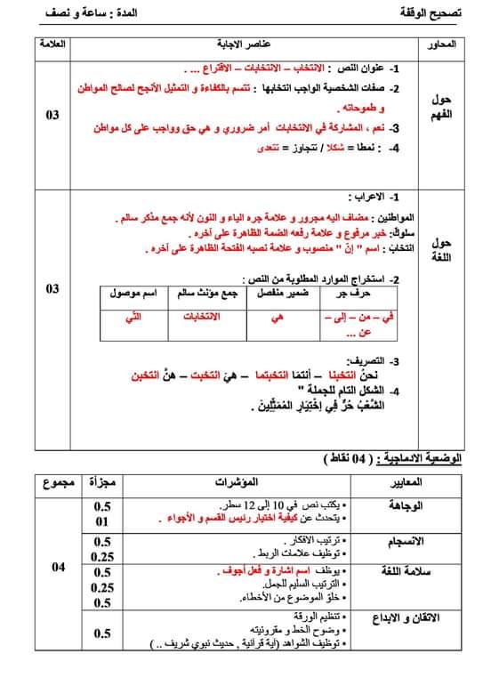 اختبار الفصل الثالث في اللغة العربية | السنة الخامسة ابتدائي (نموذج مقترح لشهادة التعليم الابتدائي)