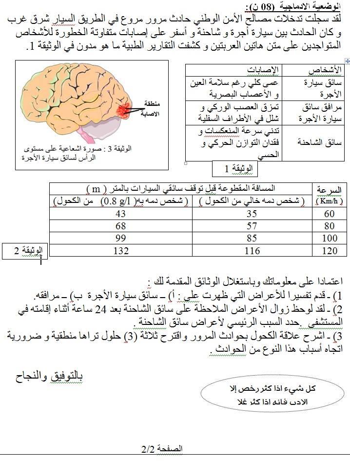 اختبار الفصل الثاني في العلوم الطبيعية السنة الرابعة متوسط | الموضوع 01