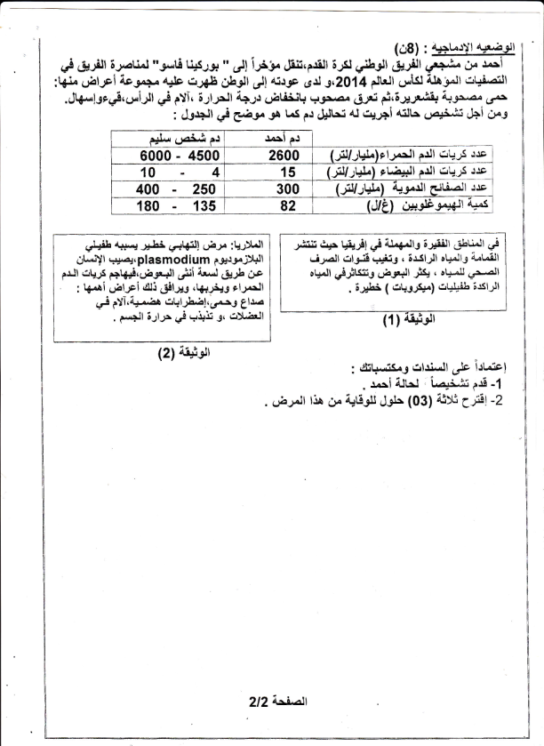 اختبار الفصل الثاني في العلوم الطبيعية السنة الرابعة متوسط   الموضوع 05
