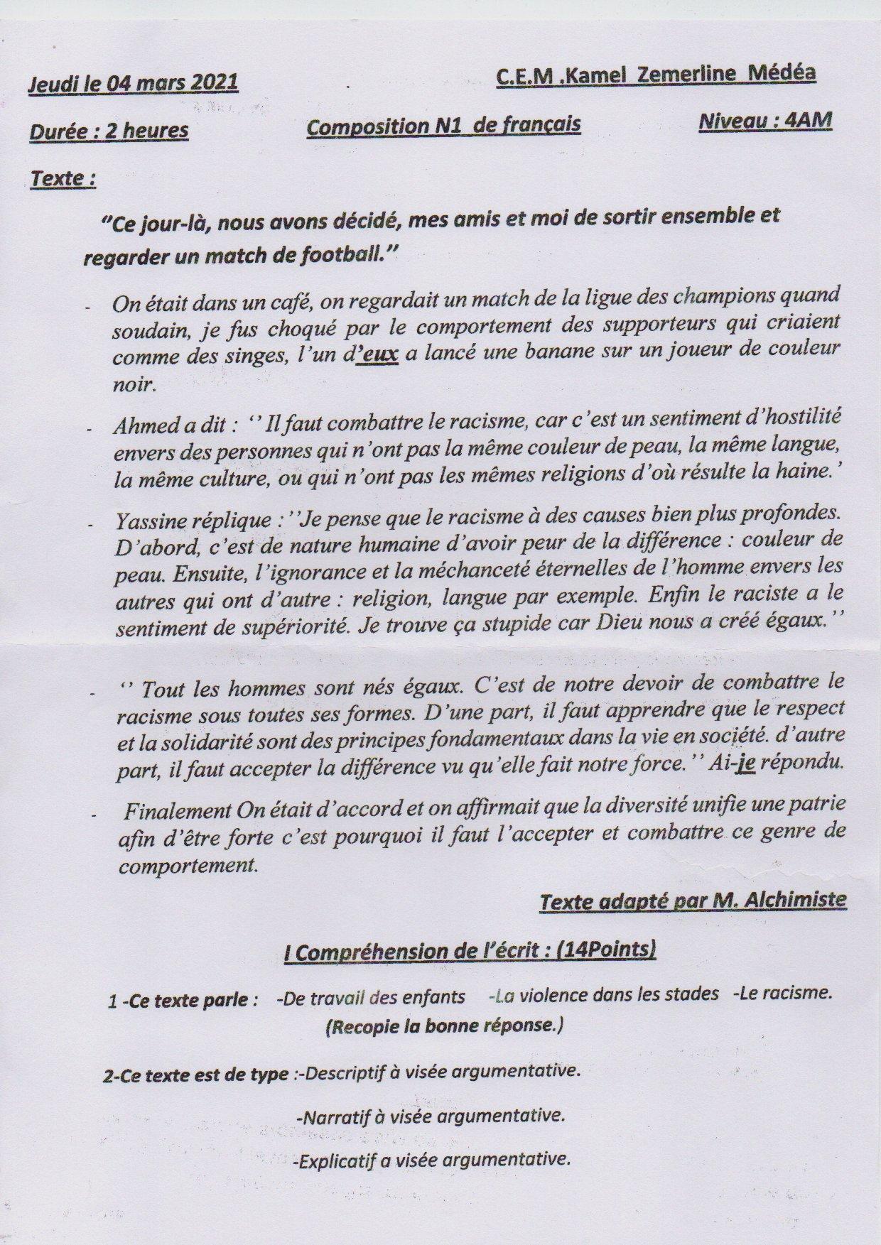 اختبار الفصل الأول في اللغة الفرنسية السنة الرابعة متوسط | الموضوع 03