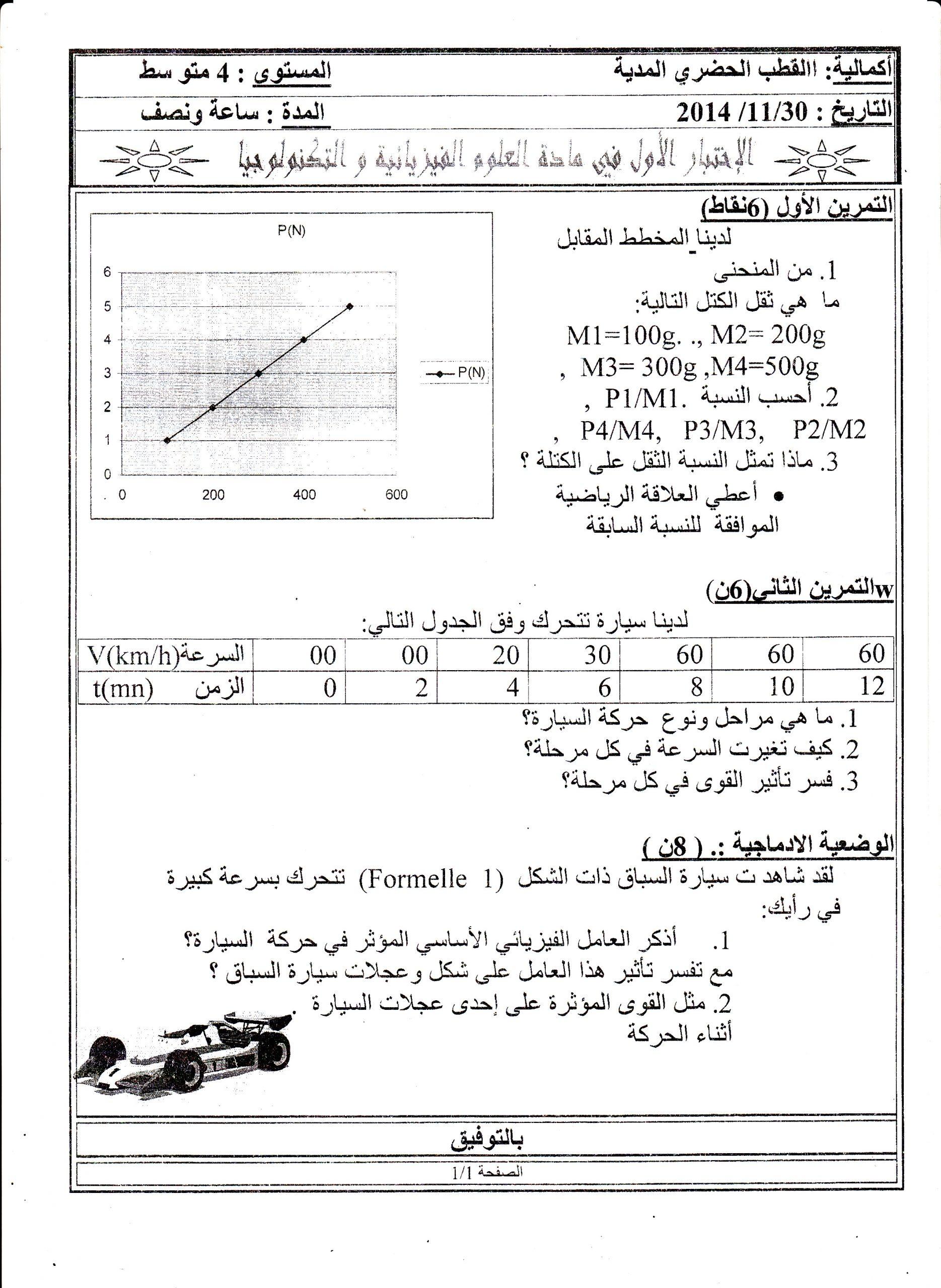 اختبارات الفصل الأول في مادة العلوم الفيزيائية مع الحل الرابعة متوسط   الموضوع 08